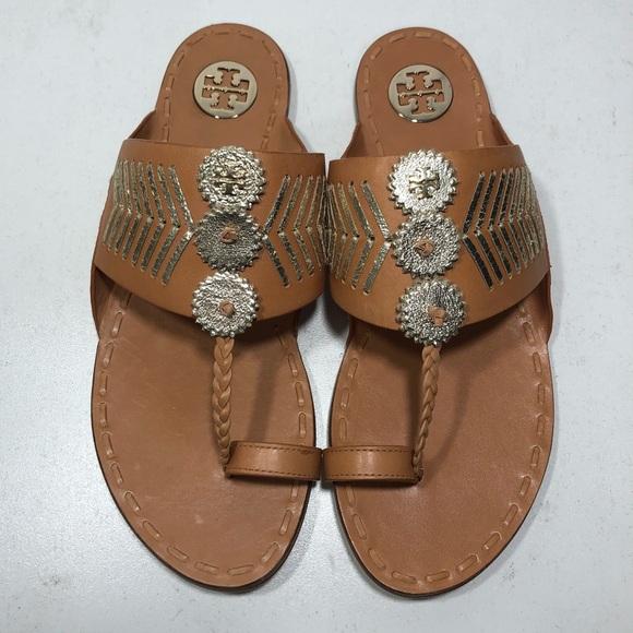 c8ab2104b03d3b Tory Burch Whipstitch Leather Caylan Sandals Flats